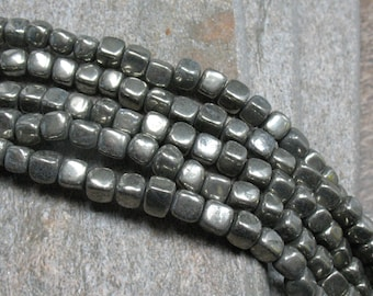 """6 mm Pyrite Rounded Cube Beads, 15.5"""" strand - Item B0606"""