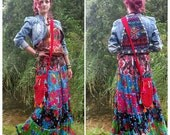 Gypsy *ROSE DREAM* Maxi Skirt nr.2   Bohemian Tiered ruffles XS/S/M