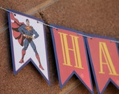 Personalized Superman Party Decorations Banner - FULLY ASSEMBLED - Birthday - Superhero - Party - Celebration - Themed - Photo Shoot