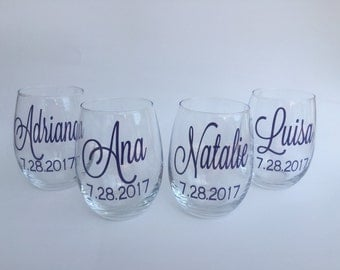 Personalized Stemless Wine Glass, Girls Weekend Wine Glass, Bridesmaid Gift, Matron of Honor Gift, Bachelorette Party Gift