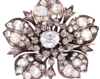 Belle Epoque French Diamond Silver Gold Flower Brooch