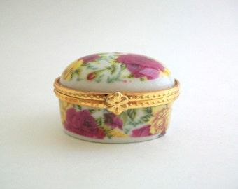 Vintage Trinket Box, Porcelain Box, Floral Box, Floral Trinket Box, Ring Box, Floral Ring Box Porcelain Trinket Box Floral Gift Box Gift Box