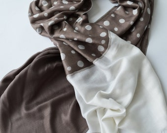 Taupe Brown Dotted  Scarf  Double Sided Scarf Shawl Scarf  - 1011