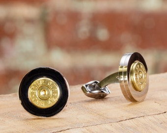 Mens Bullet Cufflinks - Stainless Steel 45 Auto Cufflinks - Groomsmen Gift / Dad Gift