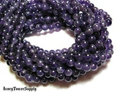1 Strand 6mm Beads, Natural Amethyst Beads,  Purple Beads, Stone Beads, Semi Precious Beads, Gemstone Beads