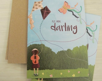 Fly high Darling, Greeting card set of 2 with envelopes