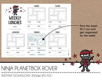 Instant Download Lunch Planner - Ninja PlanetBox Rover