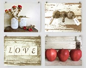 Cottage Kitchen Wall Art Gallery, Kitchen Prints, Rose Art, Love Art, Apple Print, Red and Beige Art, Rustic Kitchen, Shabby Cottage Chic