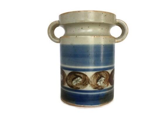 Handled ceramic container speckled design vintage mid century panter