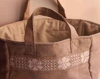 Soft Linen Basket - Home Storage Basket - Bathroom Basket with Handles - Storage Bin
