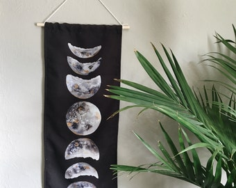 Watercolor moon phase tapestry | wall hanging | moon phase banner | gifts for her | gifts for him