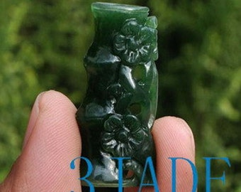 Natural Green Nephrite Jade Carving: Bamboo & Plum Flower Pendant -G026105