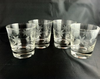 Vintage Flower Cut Glass Tumblers Set of 4 - 6 ounce Mid Century Barware Vintage Retro Bar