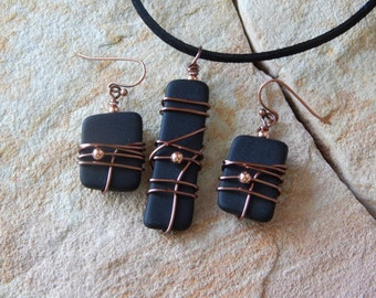 OOAK Black Glass Necklace and Earrings, Jewelry Set, Wire Wrapped Stained Glass Jewelry, Art Glass, Black Jewelry, Gift for Her, Eco Chic