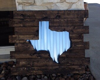 Texas Pallet Sign With Corrugated Metal