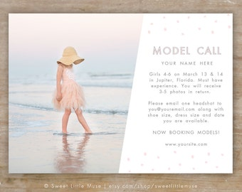 Model Call template - photography casting call - 5x7 photography marketing template