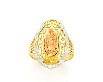 14k Tricolor guadalupe ring. our lady of guadalupe ring. religious ring.