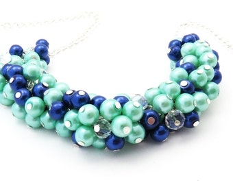 Pearl Beaded Necklace, Bridal Jewelry, Bridesmaid Necklace, Mint Green and Navy Necklace, Cluster Necklace, Bridesmaid Gift, Custom Colours