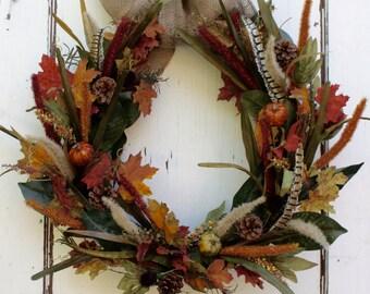 Autumn Floral Wreath, Thanksgiving Wreath, Fall Harvest Wreath, 20-inch Wreath, Rustic Fall Wreath, Door Decoration, Burlap Ribbon, Canada