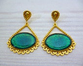 Statement Jewelry, Teal Gold Earrings, Greek Jewelry, Byzantine Style Earrings, Wedding Jewelry, Mother Gift, Big Earrings, Elegant Earrings