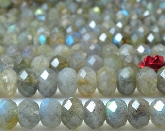74 pcs of Natural Labradorite  faceted rondelle beads in 5x7mm