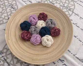 Pink shaped wool crochet brooch