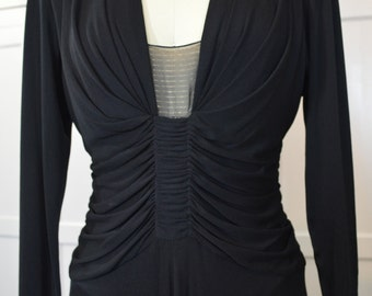Hollys Harp Black Jersey Dress Vintage 80's