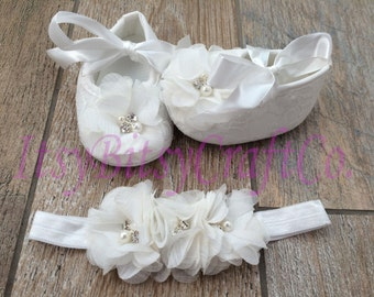 Lace Crib Shoes and headband