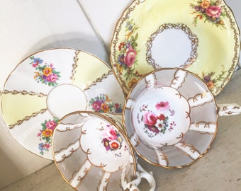 A pair of gorgeous 19th centuary cabinet teacups with matched saucers