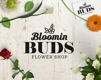 Flower Shop Logo - Logo Design - Premade Logo Business Logo Personalized - Customized Flower Florist Floral Shop Business Logo