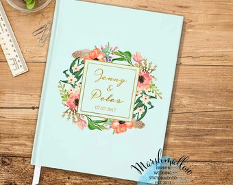 Personalized Guest Book, Mint Blue Wedding Guest Book Ideas, Wedding Gift for Bride, Custom Guest Book Spring Wedding Guestbook Wedding Gift