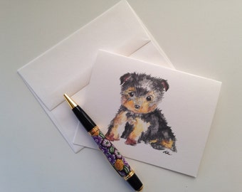 """Yorkie Stationery, Pack of 5 Notecards - """"Yorkie Puppy"""""""