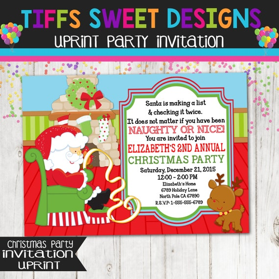 Childrens Christmas Party Invitation Holiday Ugly Sweater Party – White Elephant Christmas Party Invitations