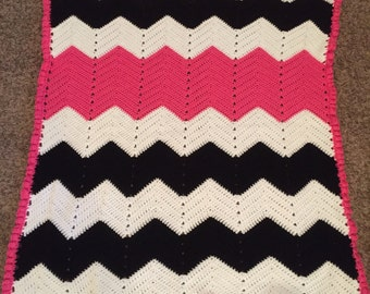 Pink Black and White Crocheted Baby Blanket