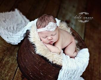 Baby Flower Headband - Newborn Headband - Flower Girl Headband - Photo Prop -Couture Rhinestone and Pearl Headband