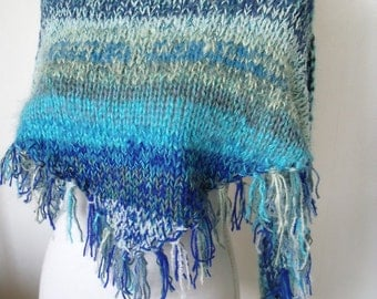 mixed blue shawl with fringe