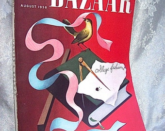 August, 1938 Issue of HARPER'S BAZAAR MAGAZINE with New York / Paris Fashions / Perfume Ads