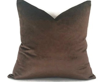 Chocolate Brown Silky Velvet Pillow Cover