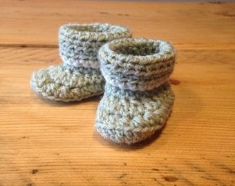 Sage Green Crochet Newborn Baby Booties