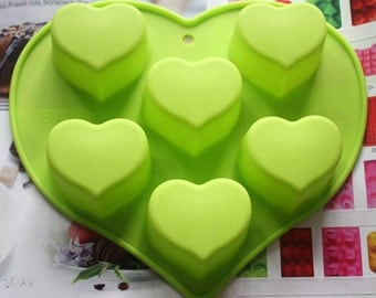 Flexible Silicone Heart Cake Mould For Fimo Resin Crafts