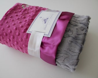 Gray Embossed Vine Minky with Orchid Dimple Dot MInky - Baby Blanket, Finished with an Orchid Satin Trim - Baby Girl, Crib Bedding, Nursery
