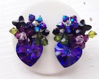 Stud earrings / Floral Earrings / Swarovski elements / Heart jewelry / Wedding Jewelry / Statement Earrings / Blue Purple Jewelry / gifts