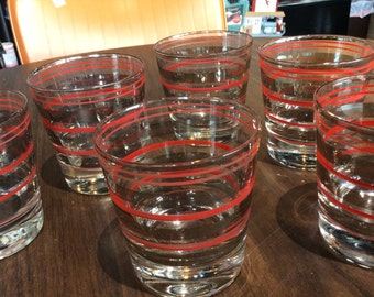 Set of 6 Midcentury Red and Silver Tumblers