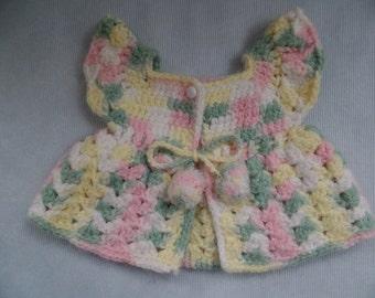 Baby Vest, Handmade Infant Girl Clothing, Newborn Shower Gift, Pastel Yarn Crochet, Green Pink Yellow,  Ruffled Sleeves, Vintage Sweater