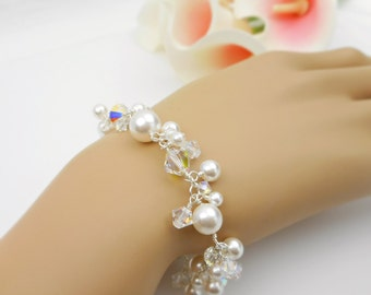 FREE US Ship Swarovski Pearl And Crystal Cluster Bridal Bracelet Lux Pearl And Sterling Cluster Bracelet Swarovski Pearl Bridal Bracelet