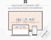 "YouTube Kit ""Sunny"" - Youtube banner / channel art and custom video thumbnail"