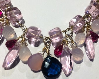 Pink Perfect Quartz Lilac Chalcedony Hot Pink Corundum AAA Gemstone Gold Filled Chain Wirewrapped Pendant Necklace
