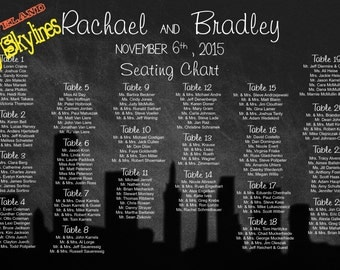 Wedding Seating chart/City Skylines/Chalkboard Sign/Seating board/ Silhouettes , PDF or PRINTED
