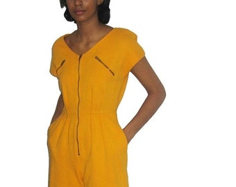 30% Off Sale Vintage Ronnie Heller Mustard Yellow Expose Zipper V-Neck Pleated Pockets Romper Jumpsuit Size