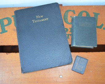 Vintage Religious Book Trio * Holy Bible * New Testament * Daily Food *